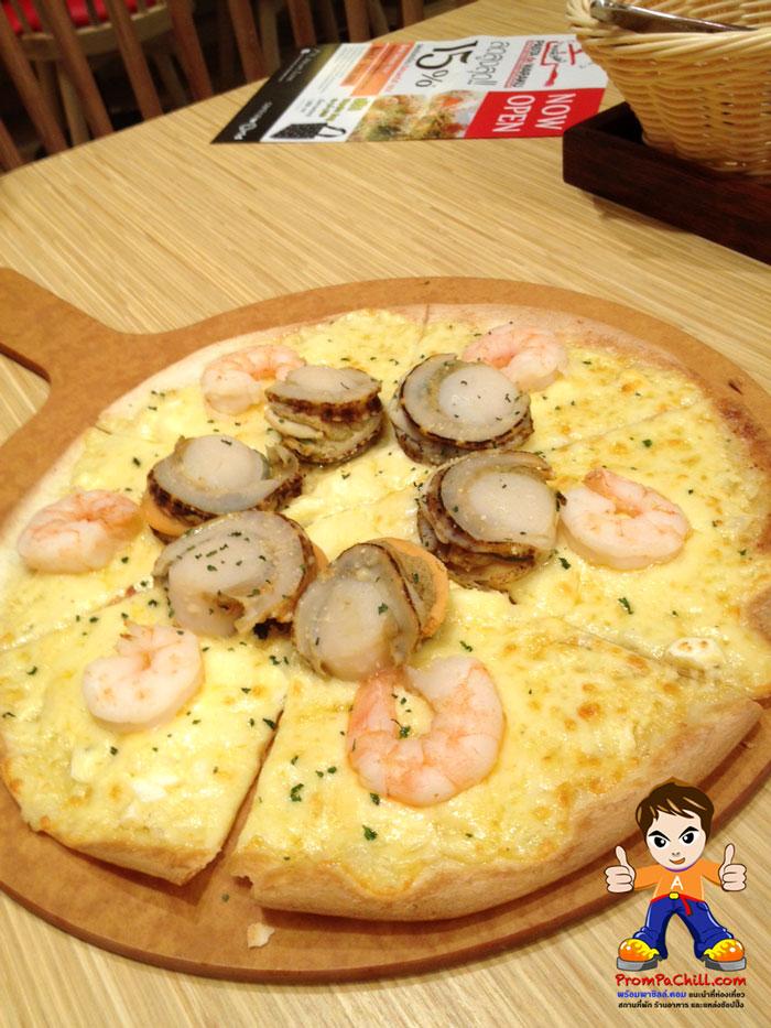 พิซซ่า โฮดาเตะและกุ้ง Pasta De Waraku - พาสต้า เดอ วารากุ